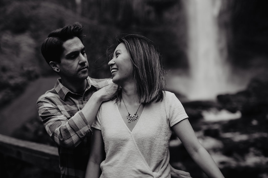 Portland, Oregon waterfall couples portrait session