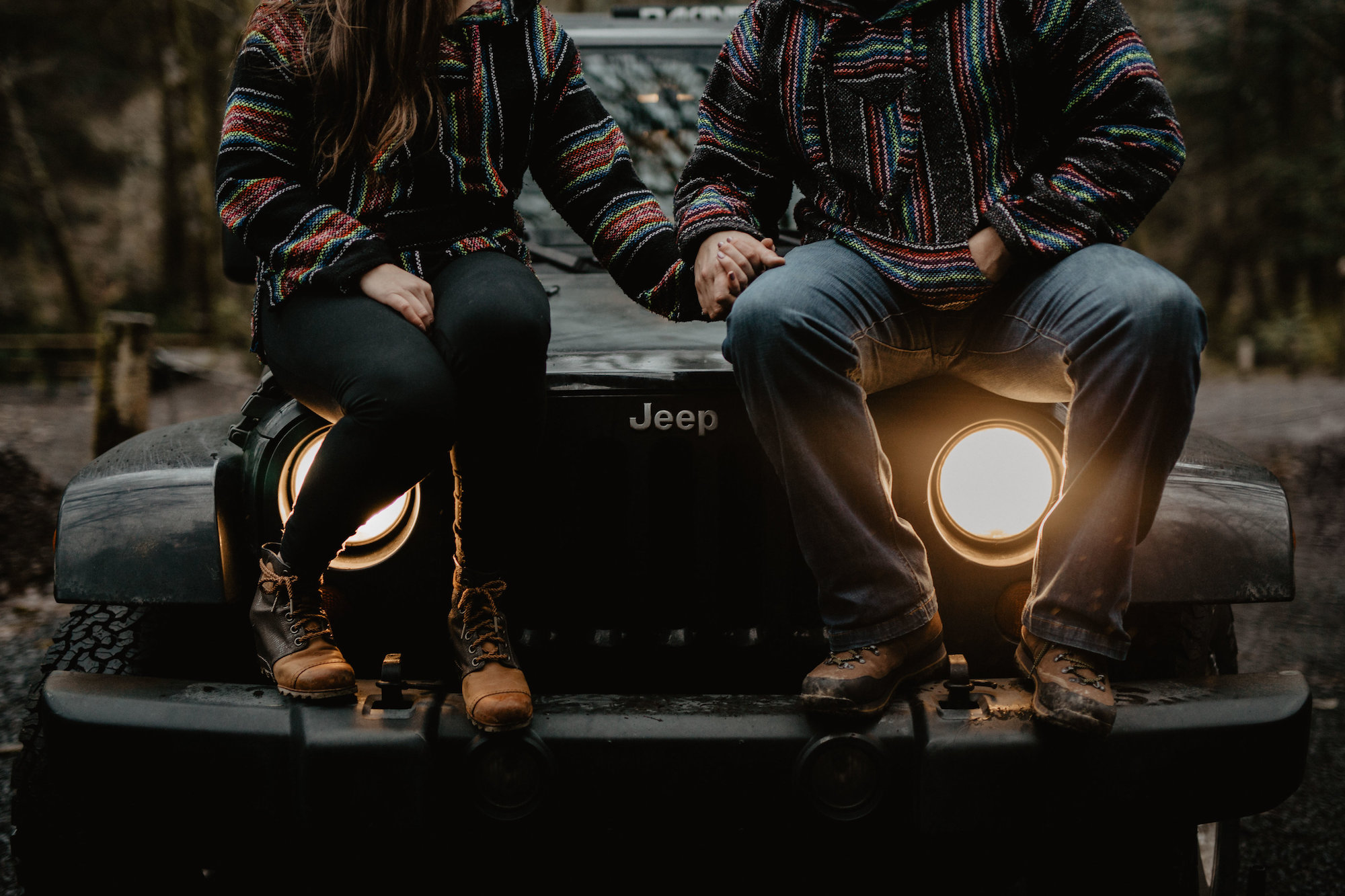 Camping, outdoorsy couple on a Jeep engagement session